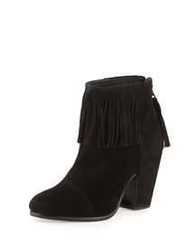 Newbury Fringe Suede Ankle Boot, Black