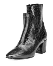 Paris Croc-Embossed Leather 60mm Boot, Black