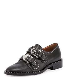 Elegant Studded Double-Monk Oxford, Black