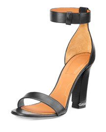 Double-Chain Leather Ankle-Strap Sandal, Black