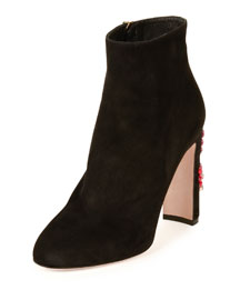Suede Ankle Boot w/Jeweled Heel, Black