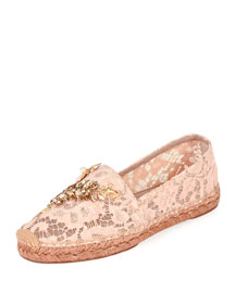 Jeweled Floral Lace Espadrille, Nude