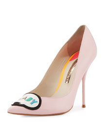 Boss Lady Leather 100mm Pump, Baby Pink
