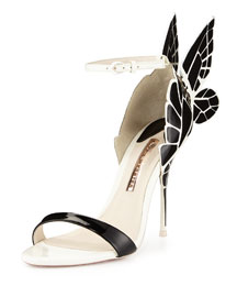 Chiara Butterfly Wing Ankle-Wrap Sandal, Black/White