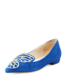 Sam Wing-Embroidered Suede Flat, Navy