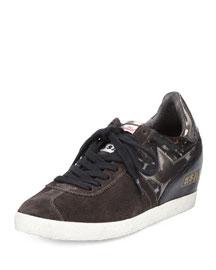 Guepard Suede & Calf Hair Sneaker, Gray