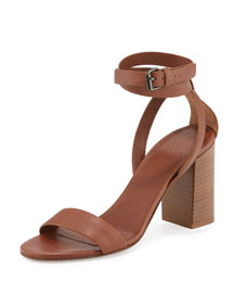 Farley Ankle-Wrap Block-Heel Sandal, Sable