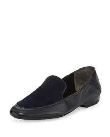 Fani Leather Two-Tone Loafer, Navy