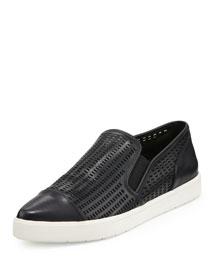 Paeyre Perforated Cap-Toe Skate Sneaker, Black
