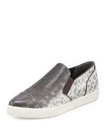 Paeyre Embossed Pointed-Toe Slip-On Sneaker, Silver/Gray