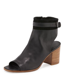 Jane Leather Peep-Toe Bootie, Black