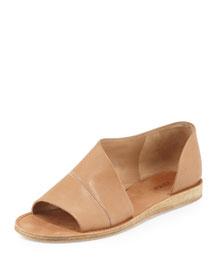 Tabitha Asymmetric Leather Flat, Sand