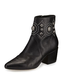 Cailyn Studded Leather Ankle Boot, Black