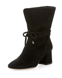 Suede 70mm Ankle-Tie Boot