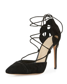 Suede & Patent Lace-Up Pump, Black