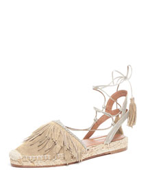 Fringed Suede Ankle-Wrap Espadrille Flat, Neutral