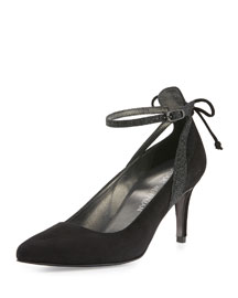 Takeabow Suede Ankle-Strap Pump