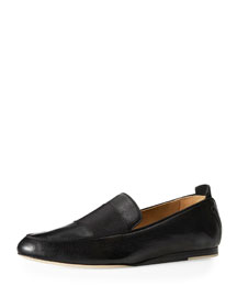 Sia Flat Leather Loafer, Black