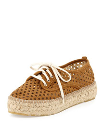Alfie Perforated Suede Lace-Up Espadrille, Sienna
