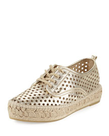Alfie Perforated Leather Espadrille Sneaker, Silver