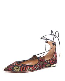 Christy Embroidered Suede Flat, Saffron/Black