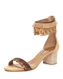 Fringed Ankle-Cuff Block-Heel Sandal, Cappuccino