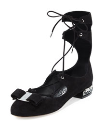 Flanda Jewel-Heel Lace-Up Flat, Black (Nero)