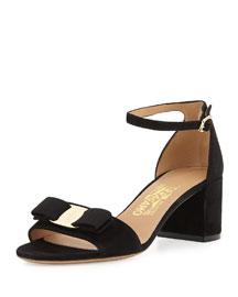 Gavina Suede Block-Heel Sandal, Black (Nero)