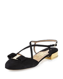 Felma Strappy Open-Back Suede Flat, Black (Nero)
