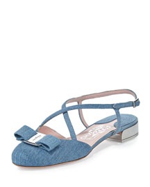 Felma Strappy Denim Flat, Blue