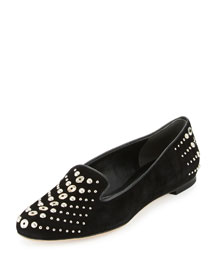 Studded Suede Smoking Slipper, Black
