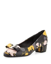Vara Floral Leather Low-Heel Pump, Black
