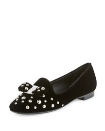 Scotty Studded Velvet Smoking Slipper, Black