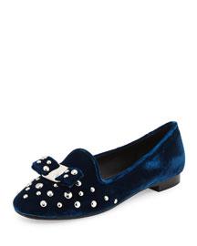 Scotty Studded Velvet Loafer, Blue