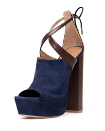 Kaya Plateau Suede 140mm Sandal, Biscotto