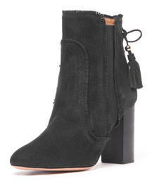 Tristan Fringed Suede Ankle Bootie