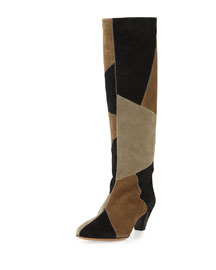 Ross Patchwork Suede Tall Boot, Black/Taupe