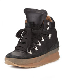Brent Lace-Up Demi-Wedge Sneaker, Black