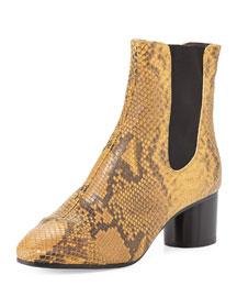 Danae Python-Embossed Chelsea Boot, Amber Gold