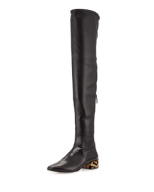 Over-the-Knee Leather Boot w/Fur Heel, Black (Nero)