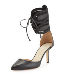Leather d'Orsay Ankle-Cuff Pump, Black (Nero)
