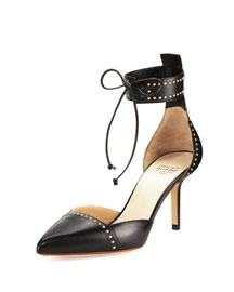 Studded Leather Ankle-Cuff d'Orsay Pump
