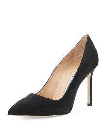 BB Suede Point-Toe Pump, Black
