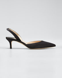 Carolyne Satin Low-Heel Slingback Pump, Black