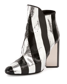 Belle Striped Snakeskin Ankle Boot, Black/Silver