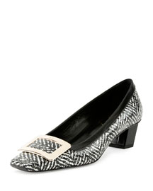 Belle Vivier Tweed-Print Pump, Black/White