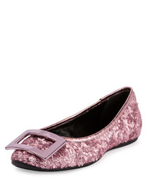 Gommette Buckle Sequined Flat