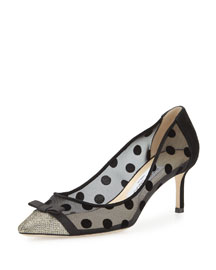 Dorothy Polka-Dot Mesh Pump, Light Bronze/Black