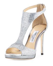 Lana Glitter T-Strap 100mm Sandal, Silver