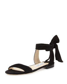 Kora Suede Flat Ankle-Wrap Sandal
